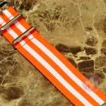 "NATO STRAP G-10 Military Nylon 5 Stripe orange / white 20mm 10"" with free spring bars"