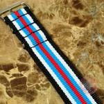 """NATO STRAP G-10 Military Nylon 6 Stripe black / white / light blue / red 20mm 10"""" with free spring bars"""
