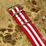 "NATO STRAP G-10 Military Nylon 5 Stripe red / white 20mm 10"" with free spring bars"