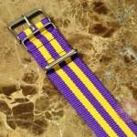 "NATO STRAP G-10 Military Nylon 5 Stripe light purple / yellow 20mm 10"" with free spring bars"