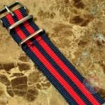 NATO STRAP G-10 Military Nylon 5 Stripe navy / red 20mm