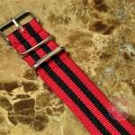 NATO STRAP G-10 Military Nylon 5 Stripe red / black 20mm