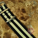 "NATO STRAP G-10 Military Nylon 5 Stripe black / tan 20mm 10"" with free spring bars"