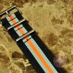 "NATO STRAP G-10 Military Nylon 5 Stripe black / silver / orange 22mm 10"" with free spring bars"